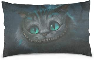 Sictlay Pillow Cover 20x30 Inch Cushion Alice in Wonderland Cheshire Cat Pillowcase, Comfortable Queen Cushion Covers for Sofa Home Bedroom