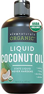 Organic Liquid Coconut Oil for Culinary & Beauty DIY Recipes, Moisturizing Hair Oil, Certified Organic & Non-GMO from Sust...