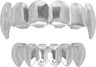 24K Plated Gold Grillz Vampire Fangs Caps Top and Bottom Grill Set Mouth Teeth for Son Gift + Extra Molding Bars + Microfiber Cloth