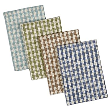 DII Cotton Heavyweight Plaid Dish Cloths Kitchen Gift, 12 x 12  Set of 4, Drying and Cleaning Kitchen Bar Towels for Everyday Cooking and Baking-Lake House Check