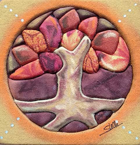 Stella Cuadro Forrado de Tela y Pintado a Mano con Pastel árbol Tamaño 8 x 8 cm. Listo para Colgar.Cuadros para salón, Cuadro Artesanal, Handmade,Cuadro para habitación, Cuadro Infantil