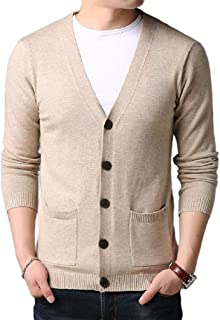 Howely Mens V-Neck Pure Colour Cardigan Cozy Relaxed Pullover Top Blouse