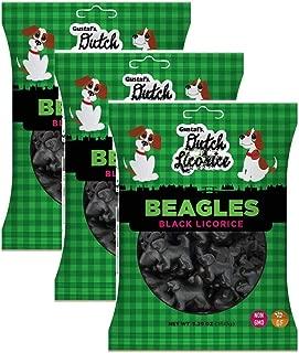 Gustaf's Dutch Licorice Beagles Black Licorice Peg Bag, 5.29oz - Pack of 3