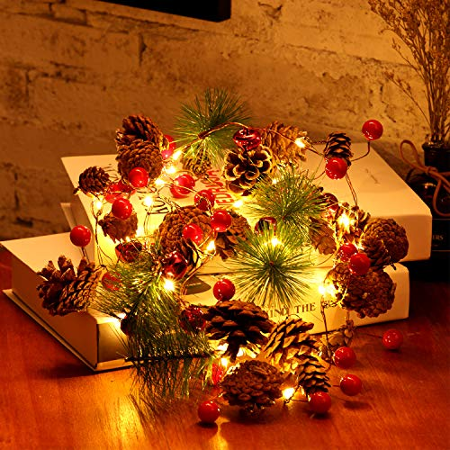 Red Berry with Pine Cone Bell Garland Lights, 6.5 ft 20 LED Battery Powered String Lights with 8 Flicker Modes Remote Timer for Christmas, Winter Holiday, New Year Parties, DIY Home Mantel Decoration