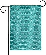 Fleur De Lis Garden Flag Monochrome Medieval Motifs Pattern French Royal Lily Victorian Premium Material W12 x L18 Turquoise and Pale Blue