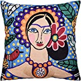 Kashmir Designs Bella Senorita Pillow Cover Necklace | Mexican Art Pillows Hand Embroidered | Blue Parrot Pillows | Birds Pillow | Blue Flower Couch Cushions | Size - 18x18