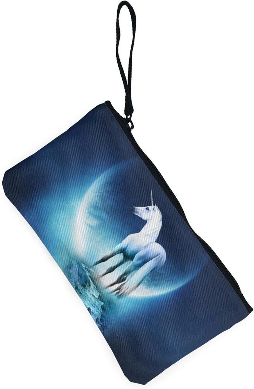 AORRUAM Unicorn Under Blue Moonlight Canvas Coin Purse,Canvas Zipper Pencil Cases,Canvas Change Purse Pouch Mini Wallet Coin Bag