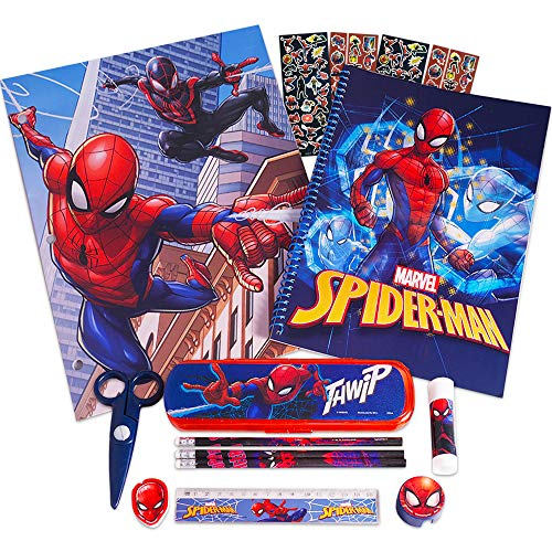 Marvel Spiderman School Supplies 12 Pc Set ~ Folder, Notebook, Pencils, Case, Stickers, and More (Avengers School Supplies Bundle)
