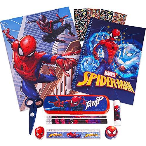 Marvel Spiderman School Supplies 12 Pc Set ~ Folder, Notebook, Pencils, Case, Stickers, and More (Avengers School Supplies Bundle)