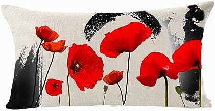 Enchanting Ink Painting Beautiful Red Poppy Flowers Anniversary Day Present Cotton Linen Waist Lumbar Pillow Case Cushion ...