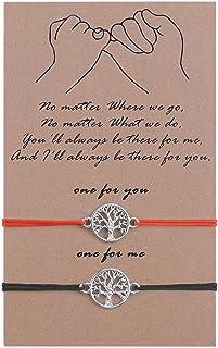 SUNSH 2 قطعة أساور نبي وعد شجرة الحياة للنساء الفتيات مسافة قابلة للتعديل مطابقة زوجين الصداقة سلسلة سوار أسود/أحمر