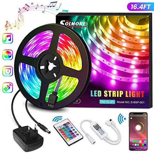 Tira LED Bluetooth 5M, SOLMORE Tira Música RGB 5050 150 LEDs/Música Activada con Controlador/Control Musical Inteligente RGB/Tira de Luz para la Decoración del Hogar (Non Impermeable)