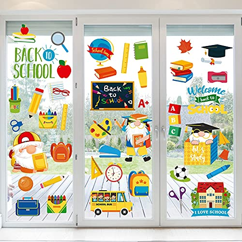 NBjiuyin Back to School Window Clings Decor Reusable Static Window Stickers Classroom Window Clings for Wall Glass Car School Day Welcome Back to School Classroom Decorations, 8 Sheets