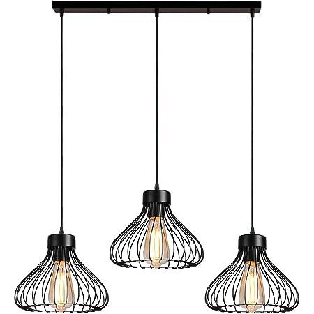 iDEGU 3 Lampes Suspension Luminaire Industrielle Lustre Plafonnier Abat-jour en Métal en Forme de Cage Vintage Lampe pour Cuisine Salle à Manger Salon Chambre Bar Couloir Restaurant - 23cm, Noir