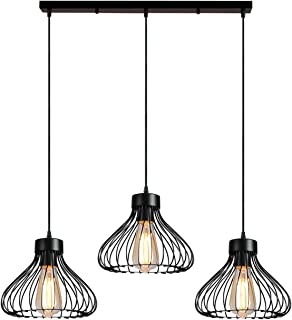 iDEGU - Lámpara de techo de metal con forma de jaula vintage para cocina, comedor, salón, dormitorio, bar, pasillo, restaurante, 23 cm, color negro