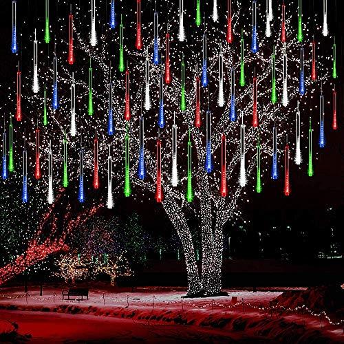 Lumineux Tubes Solaire,SUAVER Imperméable solaire Lights 10 Tubes 30CM LED Météore Pluie Lumineuses Guirlandes Solaire,Lumineux Solaire Lampes de Corde pour Noël Mariage Fête Arbre(Multi)