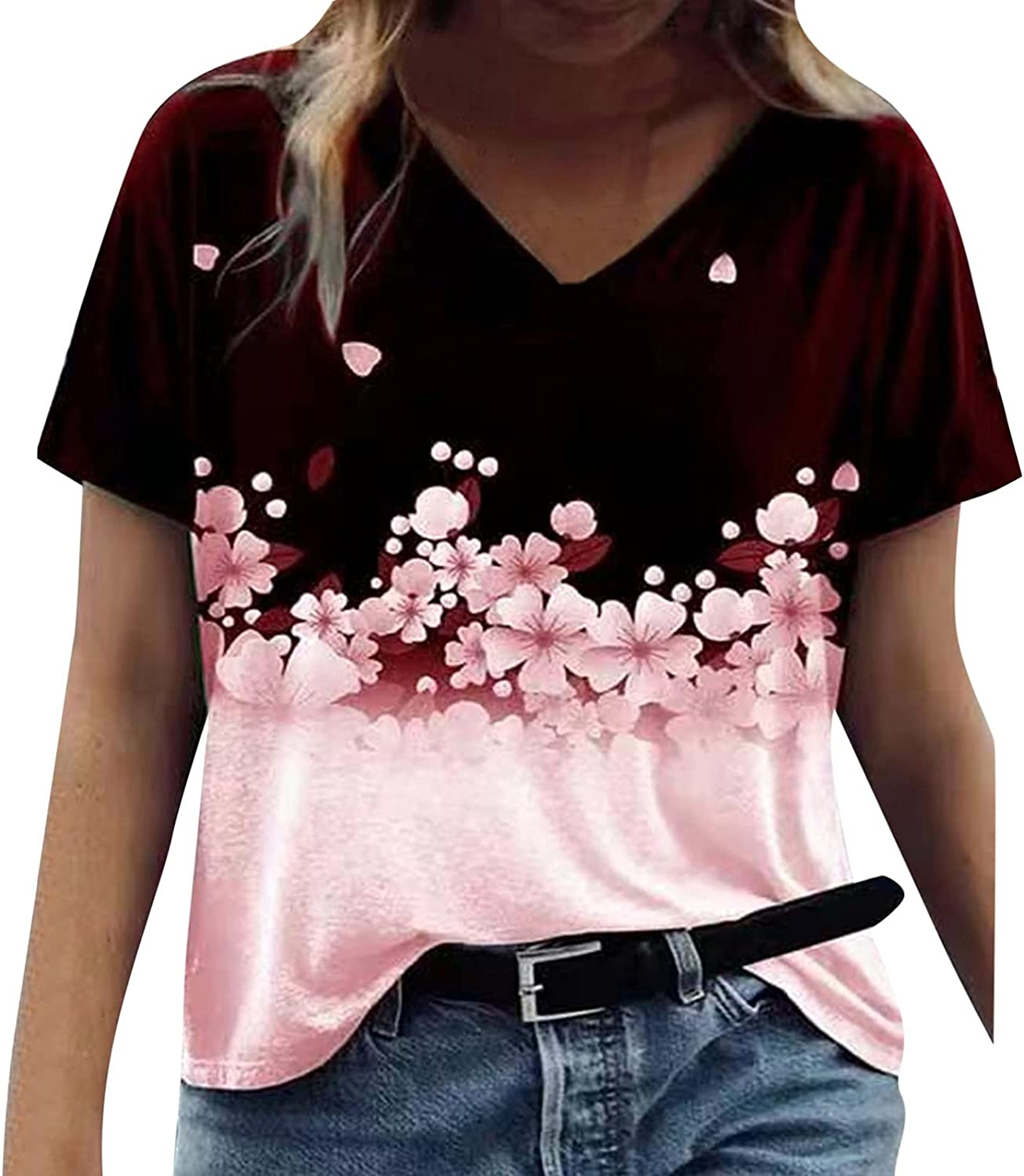Max 46% OFF Summer Tops for Women Graphic T- Short Prints Sleeve V-Neck Limited time trial price