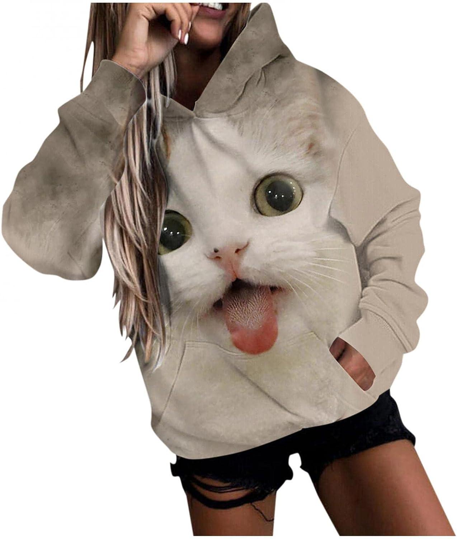 Womens Hoodies,Crewneck Cute Animal Pullover Long Sleeve Shirt Sweatshirt Casual Soft Loose Oversized Tunic