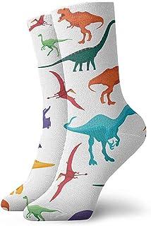 Be-ryl, Dinosaurios Ilustración Vector Patrón Transparente Fondo Colorido para Niños Calcetines Deportivos Deportivos