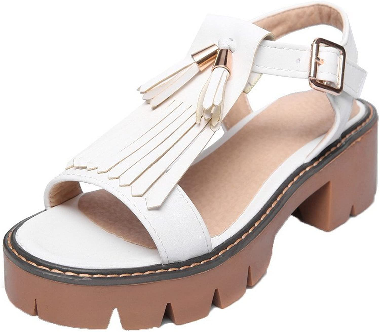 WeiPoot Women's Buckle Pu Open-Toe Kitten-Heels Solid Sandals, EGHLH007228