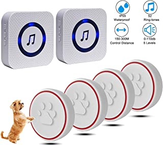 ChunHee Dog Doorbell for Potty Training with Wireless Touch Button Dog Bells, Waterproof Communication Doggy Doorbell Dog Puppy Training Sliding Door/Go Outside, IP55 Waterproof Touch Buttons