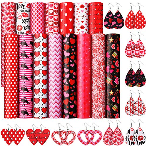 15 Pieces Valentine's Day Faux Leather Sheets Heart Printed Faux Leather Fabric Light Glitter...