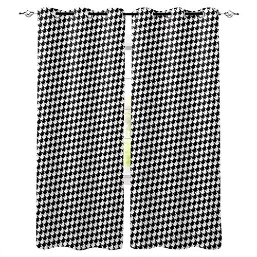 Thermal Insulated Grommet Curtains for Bedroom 63 inch Length - Classic Geometric Window Treatment Home Decor Curtains for Living Room, 1 Pair - Houndstooth Black White