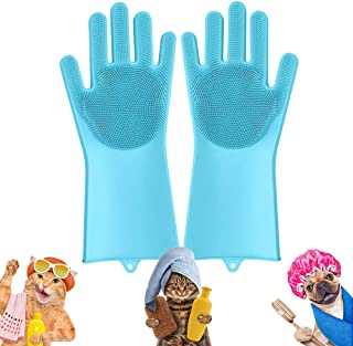 Magic Pet-Grooming-Gloves, Dog Wash Shampoo Brush for Bathing & Hair-Removal, Silicone Cat Brush Pets Scrubbing Gloves for...