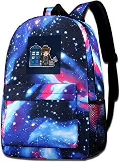 Galaxy Printed Shoulders Bag Mitesized Doctor Who 4th Tom Baker Tardis Fashion Casual Star Sky Backpack For Boys&girls
