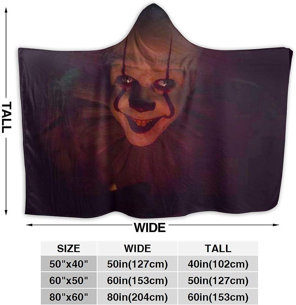 Yuantaicuifeng Couverture à Capuche Effrayant Pennywi-Se Flanelle Jeter lit Manteau Chaud Portable Wrap à Capuche pour Adultes Enfants Black