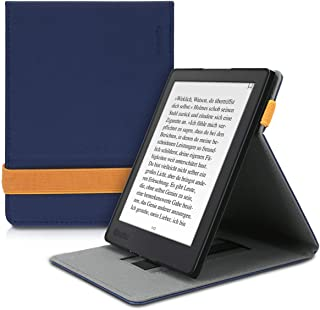 kwmobile Cover for Kobo Aura H2O Edition 2 - PU Leather e-Reader Case with Built-in Hand Strap and Stand - Dark Blue