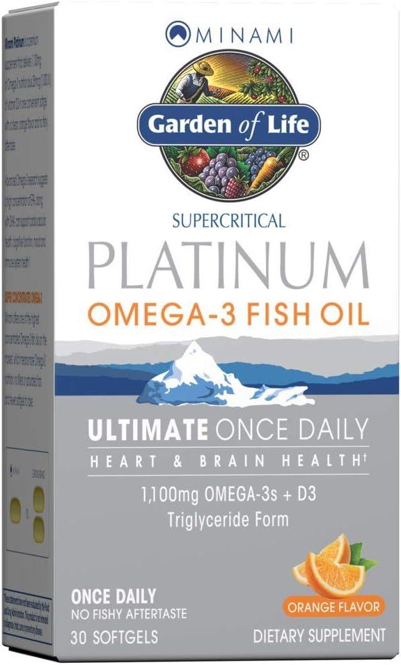 Garden of Life Minami Supercritical Platinum Omega 3 Fish Oil Supplement - Orange, 30 Softgels, Ultimate Once Daily Fish Oil Omega 3 for Heart & Brain Health, 1100mg Omega-3s + 1,000 IU Vitamin D3