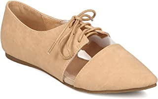 Women Leatherette Pointy Toe Lucite Lace Up Flat FA80