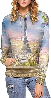 INTERESTPRINT Women's Hoodies Paris Eiffel Tower Long Sleeve Pocket (XS-XL)