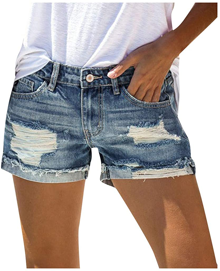 Women's Casual Jean Shorts High Waisted Rolled Hem Patchwork Summer Mid Waisted Ripped Denim Hot Shorts with Pockets
