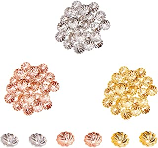 PandaHall Elite About 600 Pcs Brass Flower Petal Bead Caps Spacers 7x2mm for Jewelry Making, Golden, Silver and Rose Gold