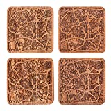 San Antonio Map Coaster by O3 Design Studio, Set Of 4, Sapele Wooden Coaster With City Map, Handmade