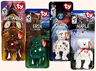 TY - McDonalds - International Bear Collection - Teenie Beanie Babies (1999) - Britannia, Erin, Maple & Glory Bears by Ty