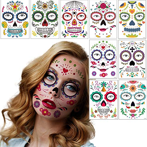 Sugar Skull Face Temporary Tattoo Day of the Dead Roses Floral Skeleton Face Tattoos Sticker 9 Sheets Makeup Tattoo Stickers for Halloween Masquerade Party