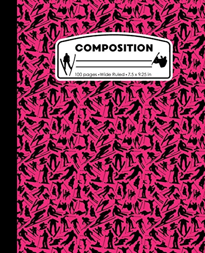 Composition: Ski Snowboard Pink Marble Composition Notebook. Skiing Snow Boarding Wide Ruled Book 7.5 x 9.25 in, 100 pages, journal for girls boys, kids, elementary school students and teachers