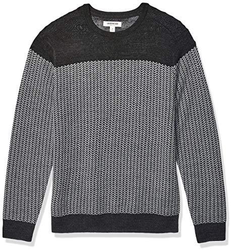 Amazon Brand - Goodthreads Men's Lightweight Merino Wool/Acrylic Crewneck Herrinbone Sweater, Charcoal Heather Grey Large Tall