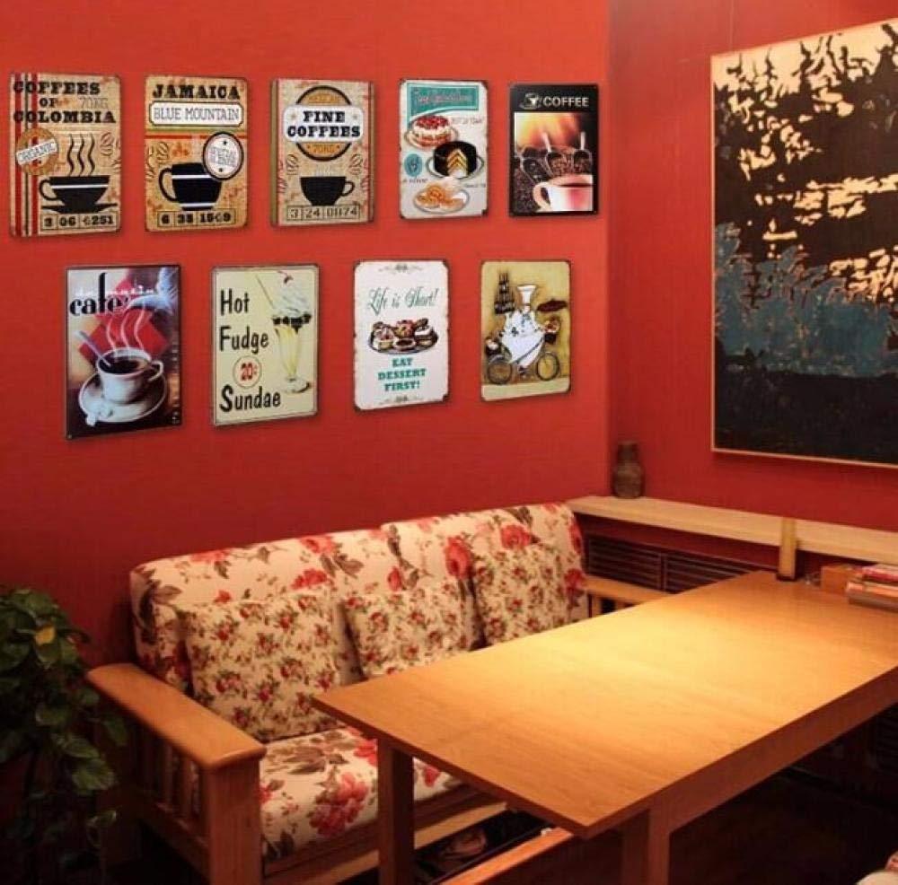 LHCY Placa De Pared Pintura De Hierro Café Carteles De Chapa ...