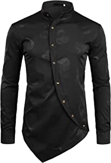 Men's Hipster Banded Collar Slim Fit Long Sleeve Dress Shirt with Constrast Trim