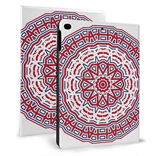 WYYWCY Lindo Ipad cubierta roja geométrica redonda simétrica floral Ipad caso para las niñas para Ipad mini 4/mini 5/2018 6th/2017 5th/air/air 2 con auto wake/sleep magnético Ipad caso niños