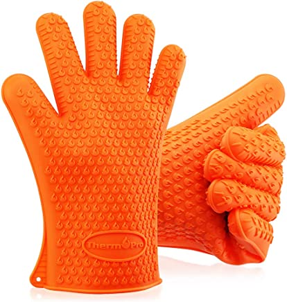 ThermoPro TP100s BBQ Grilling Oven Gloves, Heat Resistant Insulated  Silicone Oven Mitts, Kitchen Accessories