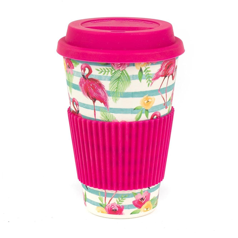 Cambridge CM05775 Bamboo Flamingo Reusable Coffee Cup Travel Mug