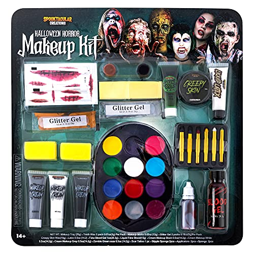 Spooktacular Creations 26 Pcs Halloween Family Makeup Kit, Zombie Makeup, Face Paint with Zombie Green Ooze, Fake Blood Costume Easy On & Easy Off Character Makeup Set for Halloween Party Supplies