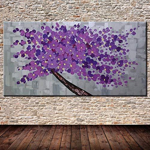Olieverfschilderij, handbeschilderd, op canvas, samengevat, boom plant, purper, boom op een stam, bruin, grote kunst, olieverfschilderij, muur, voor woonkamer, slaapkamer, restaurant 120×240cm