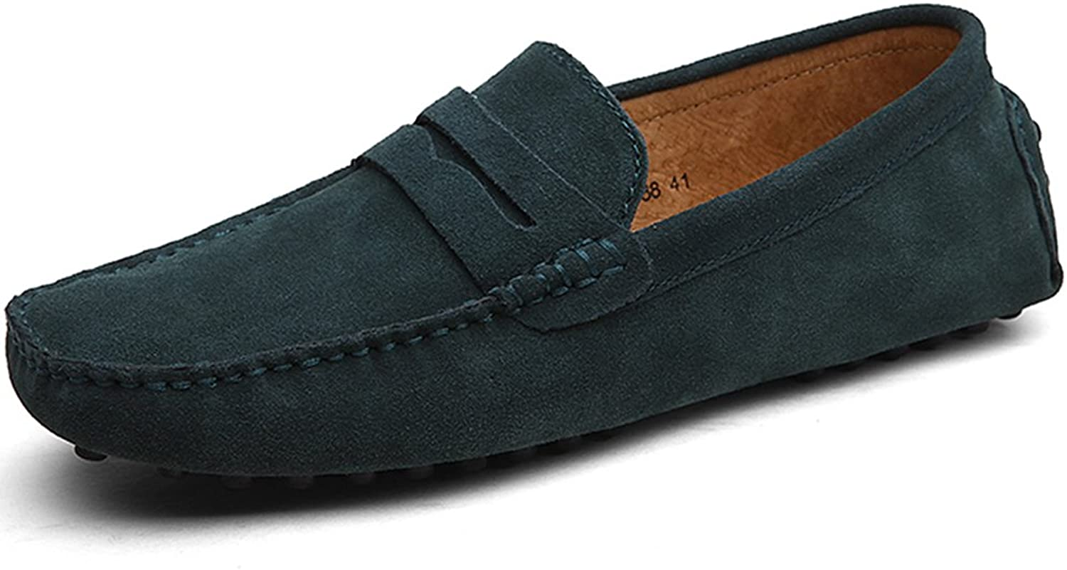 Rismart Mens Moccasin Slippers Green Size  12 M US