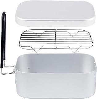 KVASS アルミ飯盒 網付き メスティン アウトドア飯ごう2点セット キャンプ用品 炊飯 蒸す 燻す 軽量 縁は二重研磨して 安全 食器